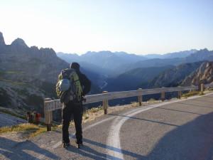 Klettertour in den Dolomiten.